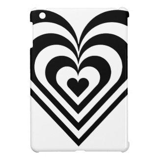 Coque Pour iPad Mini Coeur noir et blanc