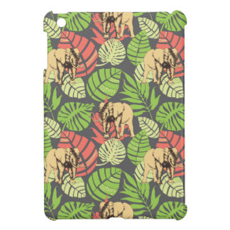 Coque Pour iPad Mini Feuille et éléphants exotiques de jungle