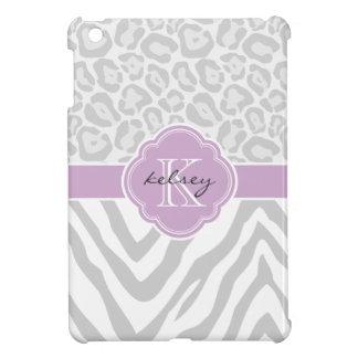 Coque Pour iPad Mini Monogramme chic gris et lilas de coutume de poster