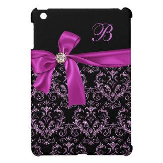 Coque Pour iPad Mini Monogramme pourpre noir élégant d'arc de diamant