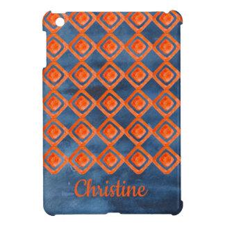 Coque Pour iPad Mini Motif orange d'aquarelle de bleu marine