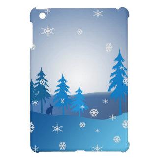 Coque Pour iPad Mini Scène bleue d'hiver de Noël