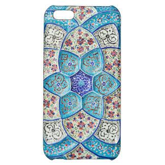 Coque Pour iPhone 5C Bleu de turquoise marocain traditionnel, blanc,