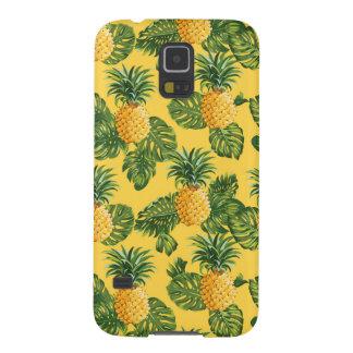 Coque Pour Samsung Galaxy S5 Ananas et feuille tropical sur l'or