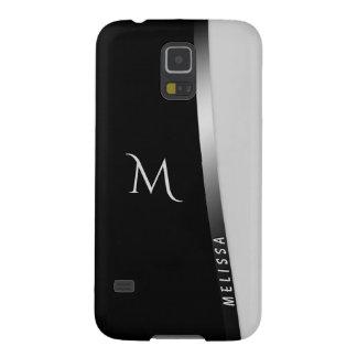 Coque Pour Samsung Galaxy S5 Argent blanc noir élégant, nom et monogramme