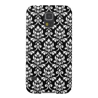 Coque Pour Samsung Galaxy S5 Blanc de motif de damassé de Feuille sur le noir