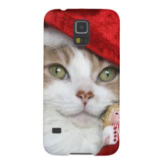 Coque Pour Samsung Galaxy S5 Chat de Père Noël - chat de Noël - chatons mignons
