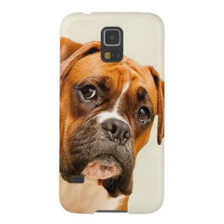 Coque Pour Samsung Galaxy S5 Chiot de boxeur sur le contexte crème en ivoire