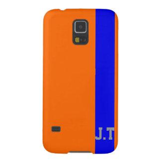 Coque Pour Samsung Galaxy S5 Monogramme orange et bleu élégant