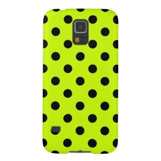 Coque Pour Samsung Galaxy S5 Pois - noir sur le jaune fluorescent