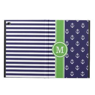 Coque Powis iPad Air 2 Marine et monogramme nautique d'ancres de vert