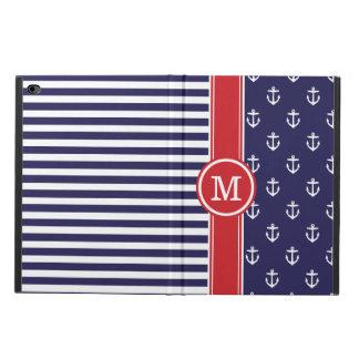 Coque Powis iPad Air 2 Marine et monogramme nautique rouge d'ancres
