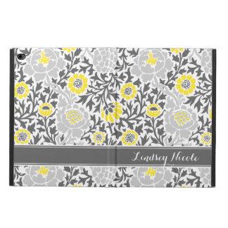 Coque Powis iPad Air 2 Rétro monogramme floral jaune et gris de damassé