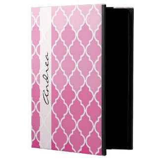 Coque Powis iPad Air 2 Votre nom - treillis marocain d'Ombre - blanc rose