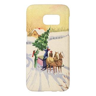 Coque Samsung Galaxy S7 Arbre de Noël vintage sur une route d'hiver de