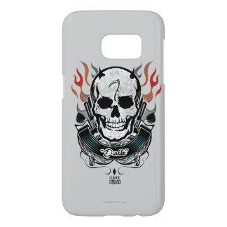 Coque Samsung Galaxy S7 Art de tatouage de crâne et de flammes du peloton