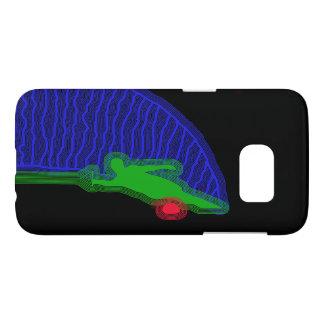Coque Samsung Galaxy S7 Caisse bleue et verte de skieur de l'eau de
