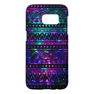 Coque Samsung Galaxy S7 Caisse dure bleue turquoise rose aztèque de la