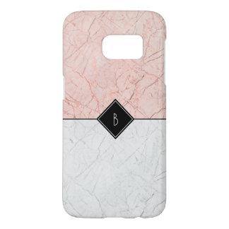 Coque Samsung Galaxy S7 Caisse grise du marbre S7 d'or rose élégant de