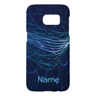 Coque Samsung Galaxy S7 Caisse nommée bleue abstraite de la galaxie S7 de