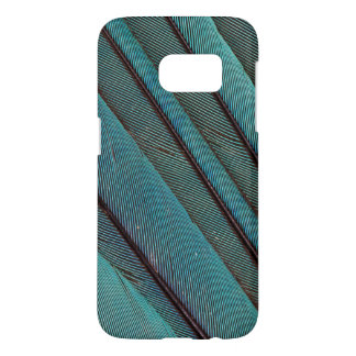 Coque Samsung Galaxy S7 Conception de plume de martin-pêcheur de turquoise