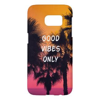 Coque Samsung Galaxy S7 Coucher du soleil tropical de paumes de plage de