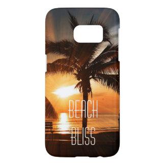 Coque Samsung Galaxy S7 Coucher du soleil tropical et palmier de bonheur