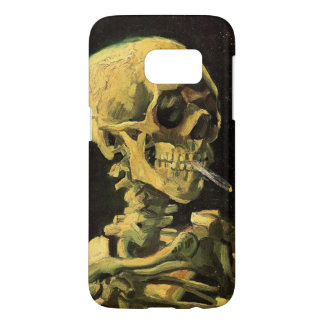 Coque Samsung Galaxy S7 Crâne de Van Gogh avec la cigarette brûlante, art
