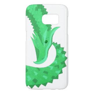 Coque Samsung Galaxy S7 Dragon vert de coeur sur le blanc
