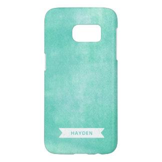 Coque Samsung Galaxy S7 Encre roulée par turquoise à la mode d'Aqua