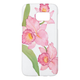 Coque Samsung Galaxy S7 Fleurs exotiques roses d'aquarelle