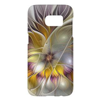 Coque Samsung Galaxy S7 Fractale moderne de fleur colorée abstraite