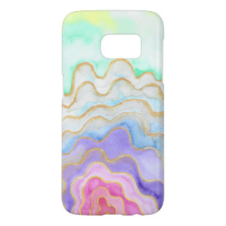 Coque Samsung Galaxy S7 Geode pour aquarelle multicolore
