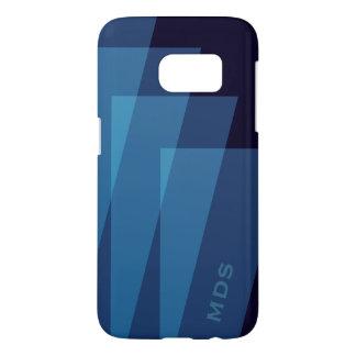 Coque Samsung Galaxy S7 Géométrique bleu personnalisé de caisse de la