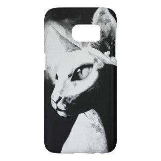 Coque Samsung Galaxy S7 L'art chauve de blanc de noir d'animal familier de