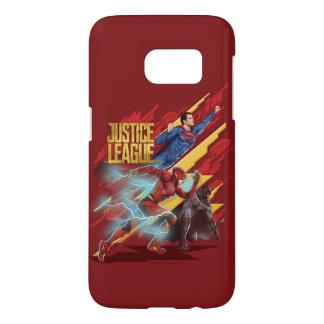 Coque Samsung Galaxy S7 Ligue de justice | Superman, éclair, et insigne de