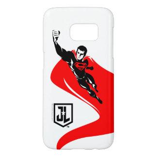 Coque Samsung Galaxy S7 Ligue de justice | Superman pilotant l'art de