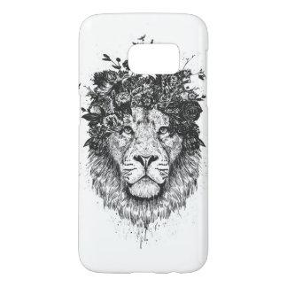 Coque Samsung Galaxy S7 Lion floral (noir et blanc)