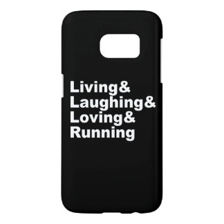 Coque Samsung Galaxy S7 Living&Laughing&Loving&RUNNING (blanc)