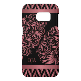 Coque Samsung Galaxy S7 L'or rose et noircissent le monogramme de |