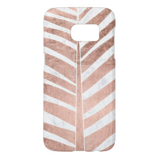 Coque Samsung Galaxy S7 Marbre tropical de blanc de palmier d'or rose à la