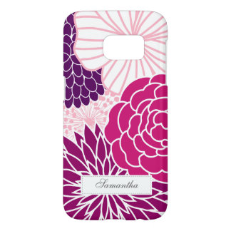 Coque Samsung Galaxy S7 Mod rose et pourpre floral