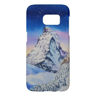 Coque Samsung Galaxy S7 Montagne de Matterhorn dans la neige à la soirée