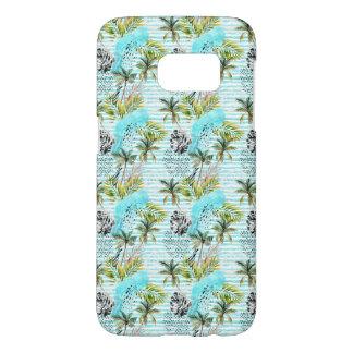 Coque Samsung Galaxy S7 Motif abstrait de palmier d'aquarelle