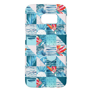 Coque Samsung Galaxy S7 Motif abstrait géométrique turquoise tropical