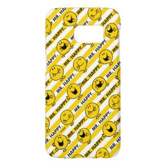 Coque Samsung Galaxy S7 Motif jaune de rayures de M. Happy |