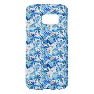 Coque Samsung Galaxy S7 Motif tropical bleu lumineux d'aquarelle