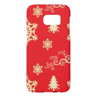 Coque Samsung Galaxy S7 Noël rouge avec les flocons de neige crèmes