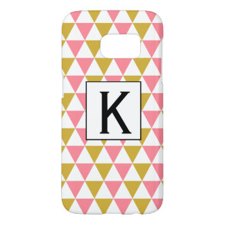 Coque Samsung Galaxy S7 Or métallique de monogramme et triangles roses