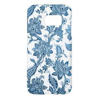 Coque Samsung Galaxy S7 Papier peint floral bleu et blanc vintage élégant